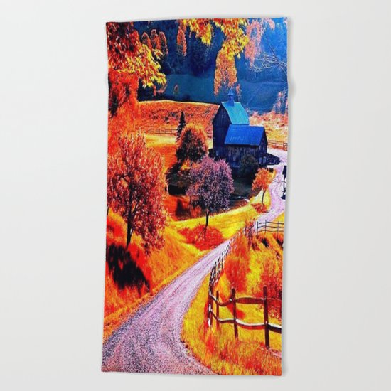 Farmhouse In Autumn Beach Towel