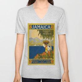 Vintage poster - Jamaica Unisex V-Neck