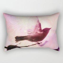 Boho Bird Taking Flight Pink Purple Glow Rectangular Pillow