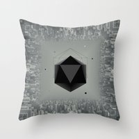 xbox Throw Pillows featuring City Intruder by Zavu