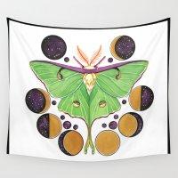 lunar Wall Tapestries featuring Lunar Moth by LyndaParker
