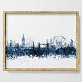 London City Skyline Blue Watercolor by zouzounioart Serving Tray