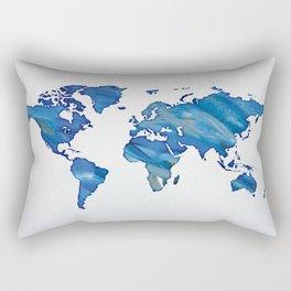 Blue World Map 01 Rectangular Pillow