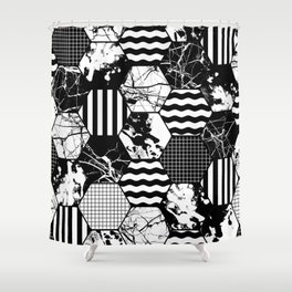 Hexual - Black and white, honeycomb, hexagon pattern, stripes, paint splats, grid and marble Shower Curtain