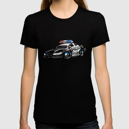 Police Muscle Car Cartoon Illustration T-shirt