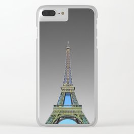 Eiffel tower Paris black and white with color Clear iPhone Case
