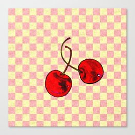 Two Red Cherries Canvas Print