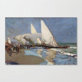 Pescadores. Barcas varadas, Valencia by Joaquin Sorolla, 1910. Canvas Print