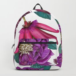 Passiflora and hellebore flower pattern white Backpack