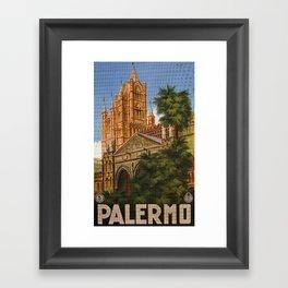 vintage Palermo Sicily Italian travel ad Framed Art Print