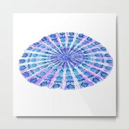 Tie Dye Round Mandala Beach Blanket Tapestry Metal Print