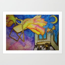 Dreams of a Folding Chair Flying to the Moon Art Print