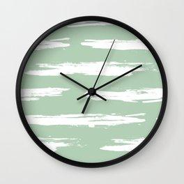 Swipe Stripe White on Pastel Cactus Green Wall Clock