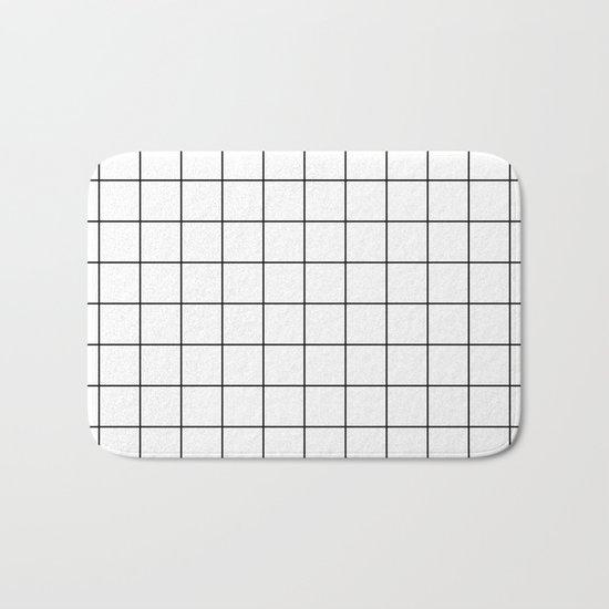 White Black Grid Minimalist Bath Mat