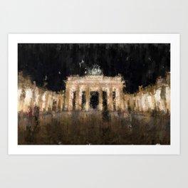 Brandenburger Tor at night  Painting /  impressionism style Illustration  / abstract landmark Art Print