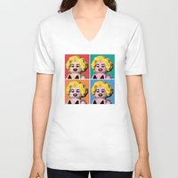 marilyn V-neck T-shirts featuring Marilyn by powerpig