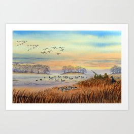 Goose Hunting Season Colorful Painting Art Print