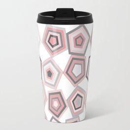 Balancing Pentagons in Pink & Grey Travel Mug