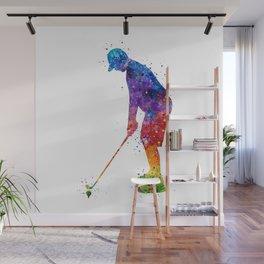 Boy Golf Player 2 Beautiful Colorful Waterolor Art Wall Mural
