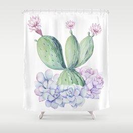 In Love Rose Cactus + Succulents Shower Curtain