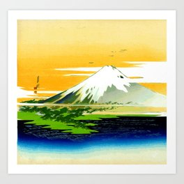 Vintage Mount Fuji Japanese Woodcut Print Art Print