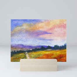 The Good Life, Landscape Watercolor Painting Mini Art Print