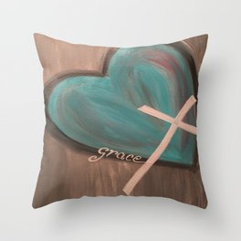Grace Heart Cross Throw Pillow