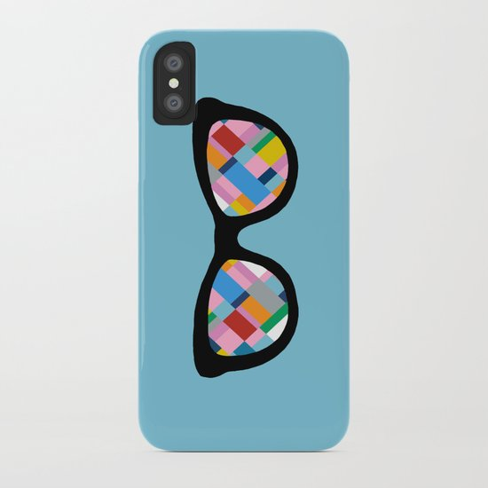 Map 45 Glasses on Sky Blue iPhone Case