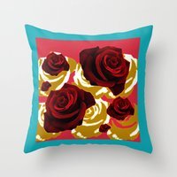 50s Throw Pillows featuring 50s Roses by Marmalademudpie and Me