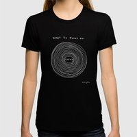 What to focus on - Happy (on black) Black LARGE Womens Fitted Tee