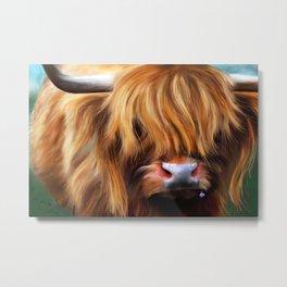 Highland Cow Painting Metal Print