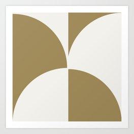 Diamond Series Round Checkers White on Gold Art Print