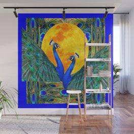 FULL GOLDEN MOON & 2  BLUE PEACOCKS PATTERN ART Wall Mural