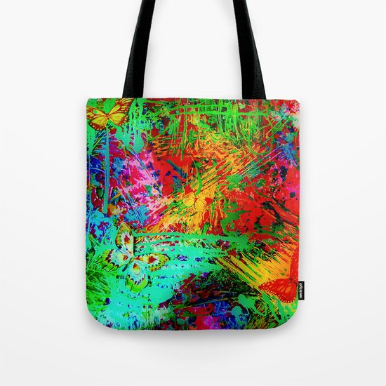 BUTTERFLY FEVER - Bold Rainbow Butterflies Fairy Garden Magical Bright Abstract Acrylic Painting Tote Bag