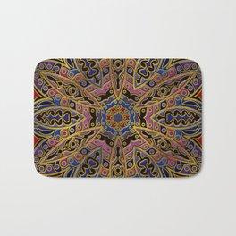 Mandala Gold Embossed on Faux Leather Bath Mat