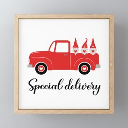 Valentines red retro truck and cute Nordic gnomes. Special delivery Framed Mini Art Print
