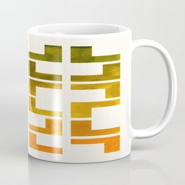 Geometric Pattern L Shaped Watercolor Painting Olive Green Yellow Ochre Colorful Pattern Art Coffee Mug