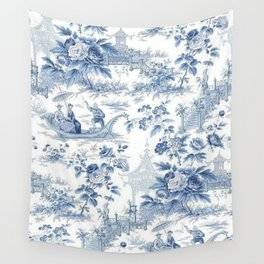 Powder Blue Chinoiserie Toile Wall Tapestry