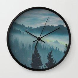 Misty Blue Watercolor Mountains Pine Trees Silhouette Minimalist Monochromatic Photo Wall Clock