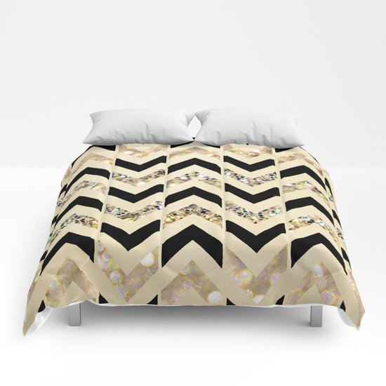 Black & Gold Glitter Herringbone Chevron on Nude Cream Comforters