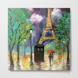 TARDIS IN THE PARIS Metal Print