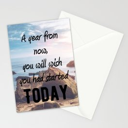 Motivational - Start today. Start now! - Motivation Stationery Cards