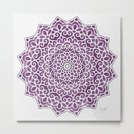 16 Fold Mandala in Purple Metal Print