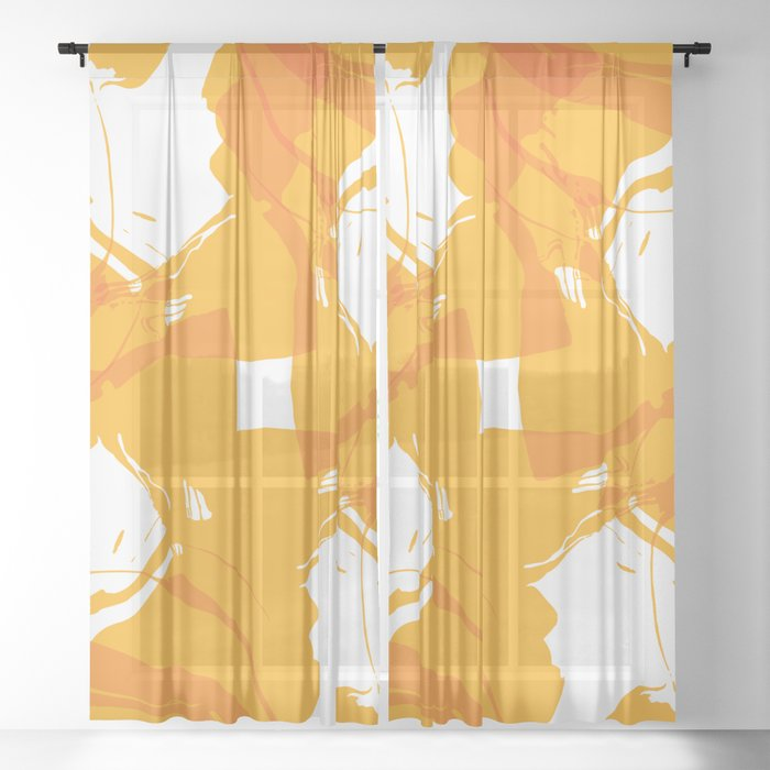 Orange Two-Tone Marble Sheer Curtain
