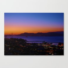 San Francisco Sunset - Golden Gate Bridge in the Background Canvas Print