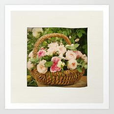 A Basket Of Roses 'just For You' Art Print