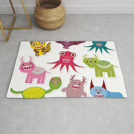 Sticker set Funny monsters collection on white background Rug