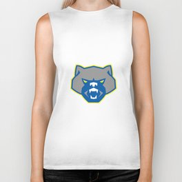 Angry Wolf Head Front Retro Biker Tank
