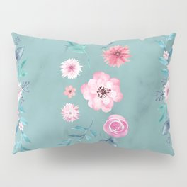 Watercolor Flowers on Limpet Shell Marble Pillow Sham