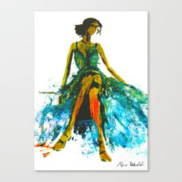 Blue Dress For A Blue Day Canvas Print